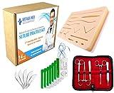 Kit Pratico di Sutura per Addestramento Medico, include un Cuscinetto di Sutura in Silicone pretagliato per Ferite e un Kit Completo di Sutura (19 pezzi). Modello di Seconda
