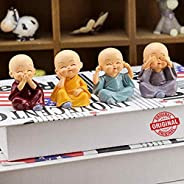 TIED RIBBONS Set of 4 Buddha Monks Statues Figurines Showpiece for Wall Shelf Table Desktop Living Room Decora