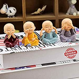 TIED RIBBONS Resin Buddha Monk Statues, Small, Multicolour, Set of 4