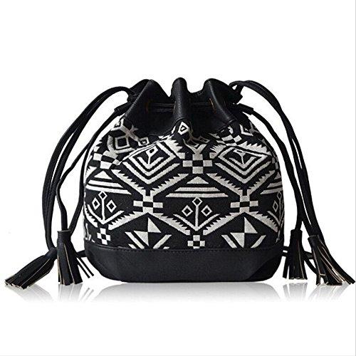 BYD - Femme Mini Bucket Bag Rope Strap Lock Design Tote Bag Fashion Imprimés fleuris Noir