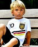 ElevenSports Deutschland Trikot mit GRATIS Wunschname + Nummer + Wappen Typ #D 2018 im EM/WM Weiss - Geschenke für Kinder,Jungen,Baby. Fußball T-Shirt personalisiert