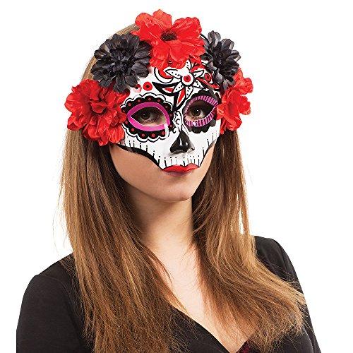 Bristol Novelty EM763 Tag der Toten Maske, Bunt, womens, Mehrfarbig, (Maskerade Fancy Dress Ideen)