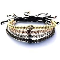 GOOD.designs Macramé-Bracciale in vera Naturale-pietre Ematite, diamante-ciondolo,