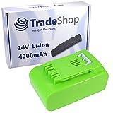 Trade-Shop Premium Li-Ion Akku, 24V / 4000mAh ersetzt Greenworks Tools 29322, 29807, 29837, 29842, 29852 für G24 Rasentrimmer Heckenschere Teleskop-Heckenschere Hochentaster Kettensäge Laubgebläse