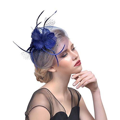 ZYCC Vintage Bridal Feather Fleur Voile Chapeau Fascinator Mariage Fête Accessoires pour Cheveux Bleu Profond