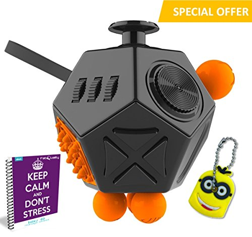 FabQuality Cube 12 Sides Big Size Anxiety Attention Toy With Minion Key Chain Gift + eBook Included – Relieves Stress And Anxiety And Relax for Children and Adults BONUS EBOOK is sent by email
