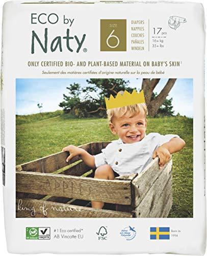 Naty By Nature Babycare Pannolini - Taglia 6, (16+ kg), 6 confezioni da17 [102 Pannolini]