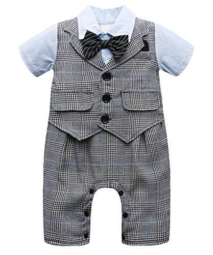 Kind Am Kostüm Ziel - A&J Design Baby Jungen Gentleman Strampler Hochzeit Kostüm mit Krawatte (Grau, 12-18 Monate)
