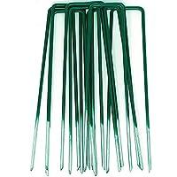 GardenPrime 50 unidades de Grapas en forma de U de 2.8 mm para Jardín, Césped Artificial, Telas y Mallas - Mitad de Color Verde - Metálicas - Galvanizadas Sumergidas en Calor (50)