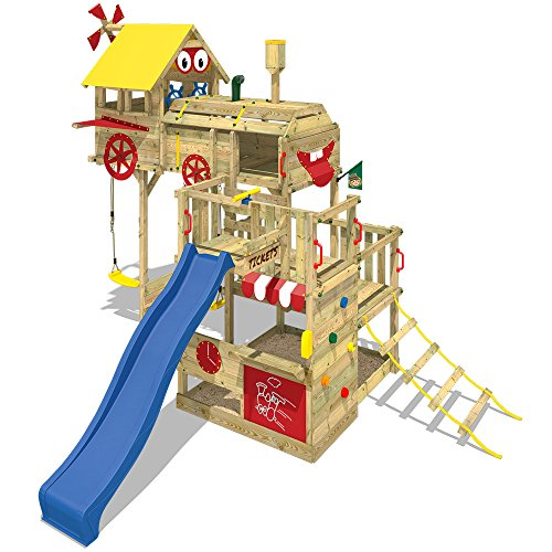 WICKEY Spielturm Smart Express Kletterturm Zug Spielgerät Holz mit Kletterleiter, Doppelschaukel, Sandkasten, blaue Rutsche + Plane rot-gelb