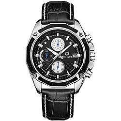 Men, Quartz Watch, Business, Leisure, Outdoor, Multifunction, 6 Pointer, PU leather, M0538