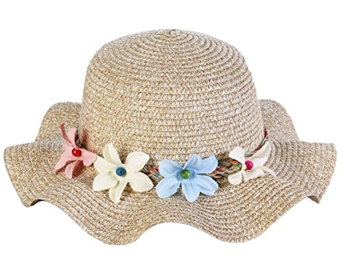 Toruiwa 1X Strohhut Sonnenhut mit Blume Decor Breiter Krempe Hut Strand Hüte Anti UV Hut für Kinder Mädchen Damen (Khaki)