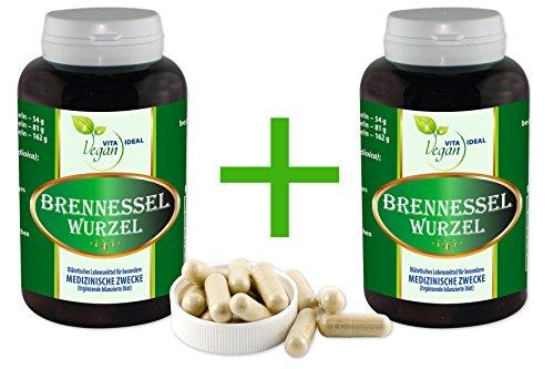 """Vegan """"MEGA-SPAR-POT"""" 2x360 Brennessel Wurzel pflanzliche Kapseln, je 350 mg rein natürliches Pulver, ohne Zusatzstoffe"""