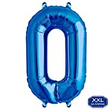 DeaGo XXL Folienballon Zahl [ca.100cm], Blau Luftballon Zahlen für Geburtstag Jubiläum & Party Geschenk partydeko Folienballon Zahlen Luftballons Happy Birthday ( 0-9 ) (Blau [ 0 ])