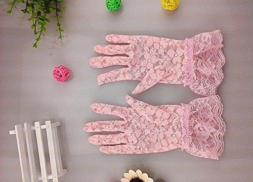 yygift® Damen Blumen Kurz Tüll Spitze Handschuhe Handgelenk Länge für Kleid- und Hochzeit Party Sun Schutz Handschuhe Rosa (Handgelenk Handschuhe Spitzen Länge)