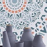 Stencil mural Roseton 001. Mesures: mesure extérieure du Stencil: 30 x 30 (cm) mesure du motif: 28 x 28 (cm)