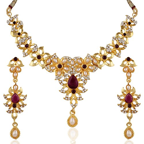Variation Purple Gold Plated Pearl and CZ Studded Jewelry Necklace Set For Women - VD15757