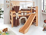 Hochbett LEO Kinderbett mit Rutsche Spielbett Bett Natur geölt Stoffset Burg