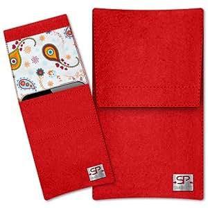SIMON PIKE Hülle Handytasche Sidney 10 rot für Apple iPhone 5S 5C 5 aus Filz