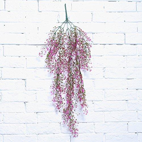 Hochzeit Home Garden Floral Decor Künstliche Fake Silk Flower Vine Hängepflanze Girlande, plastik, rose pink, 80 cm (Pink Silk Rosen)