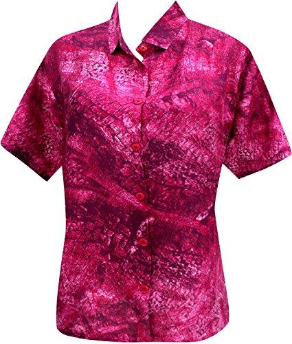 Hawaii-Hemd Knopf unten Blusen passen Frauen mit kurzen Ärmeln Lager rosa entspannt Rosa