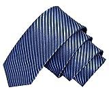 GASSANI Blaugraue schmale dünne 5cm Krawatte gestreift | Skinny Herrenkrawatte Blaugrau zum Sakko Anzug | Schlips Binder einfarbig mit Streifen