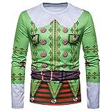Shujin Herren Herbst Winter Weihnachtspullover mit 3D Weihnachtsmotiv Druck Christmas Sweatshirt Pullover Casual Rundhals Langarmshirt Oberteile Tops