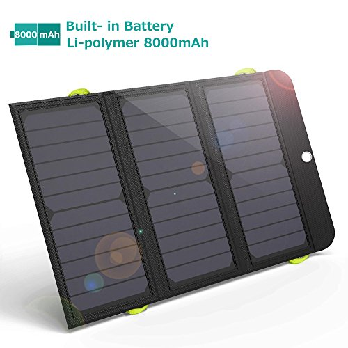 GIARIDE 5V 21W 8000 mAh Tragbares Solar Powerbank Faltbar Solarladegerät 4 Port USB Sunpower Solarpanel Outdoor Solar Ladegerät für Handys, Akku, iPhone 7 6s Plus, iPad, Galaxy S8 S7, Rucksack, Klettern