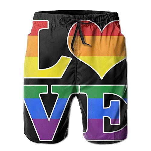 Nicegift Gay Love Rainbow Heart Gay&Lesbian Pride Men's Summer Beach Shorts Swim Trunks Household Pants with Pockets Quick Dry Beach Shorts XL -