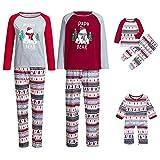 Riou Weihnachten Familie Pyjamas Set Gestreift Print Pullover Homewear Schlafanzug Weihnachts Pyjama Outfits Set für Junge Mädchen Baby Kinder PJS Kleidung (L, Mom)