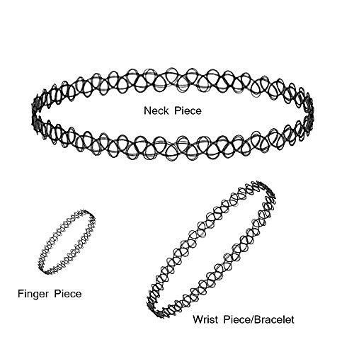 Kaizer Jewelry Vintage Stretchable Fake Black Tattoo Choker Necklace with  Combo of + Ring + Bracelet for Women Girls (Forever Gift) Buy Kaizer Jewelry  ... e374eb9a60