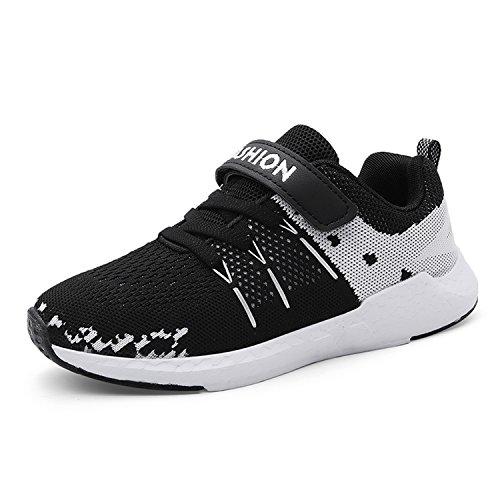 Unpowlink Kinder Schuhe Sportschuhe Ultraleicht Atmungsaktiv Turnschuhe Klettverschluss Low-Top Sneakers Laufen Schuhe Laufschuhe für Mädchen Jungen 28-37, Schwarz, 36 EU