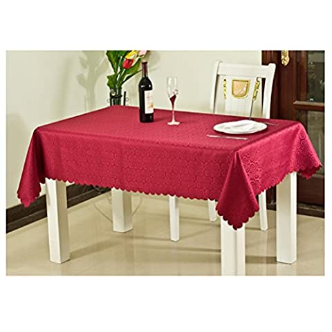 Kuke Damask Rectangular Lace Trimming Red Tablecloth for Party Picnic Camping,60 by 84-Inch