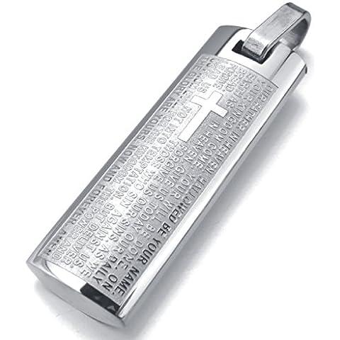 MENDINO Pendente da uomo, rettangolare, in acciaio inox, con incisione parole della Bibbia [in inglese], in argento, con sacchetto di velluto