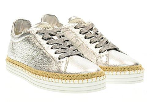 HOGAN REBEL scarpe donna sneakers basse HXW2600U560FMTB200 R260 Argento