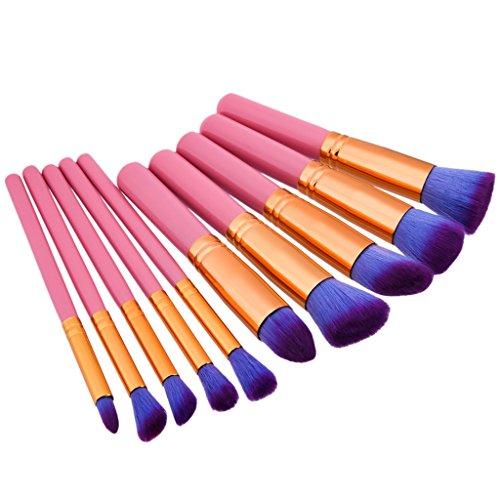 MagiDeal Set de 10Pcs Pinceaux de Maquillage Brosse de Fond de Teint Crème Lèvres Fard à Paupières Kabuki Blush Contour - Rose, Or, taille unique