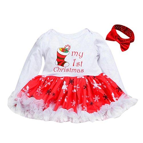 Baby Weihnachten Kleidung Hirolan Langarmshirt Weihnachtskostüm Säugling Baby Strampler Prinzessin Tutu Kleid + Stirnband Festliche Mädchenkleider Neugeborene Kleidung Babykleidung (Weiß, 70) (Kleinkind Navy Shorts Mesh)