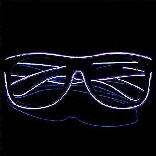 OMOUP Blinkende Beleuchtung el Draht führte Gläser leuchtende Partei dekorative Beleuchtung Gläser Geschenk helle Party Brille mit Batterie Box für Weihnachten / Halloween-Partys(Weiß)