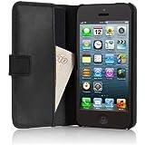 Pipetto P028-06A Étui pour Apple iPhone 5/5S en Cuir Style Portefeuille avec Rabat Noir