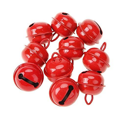 Everpert 20 Stück Bunte Metallglöckchen Schellen Glocke Glöckchen mit Öse Zum Basteln 25mm Durchmeser für Handwerk Haustier Glocken Schmuckherstellung Rot