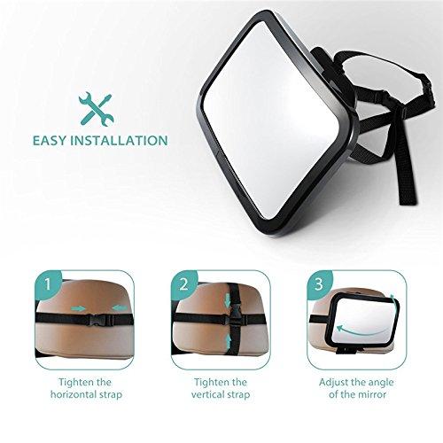 Skyeye Espejo Retrovisor Ajustable para Bebés de 360 Grados para Monitorear el Bebé del Automóvil, Adecuado para Asientos Infantiles Orientados hacia Atrás