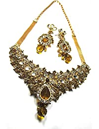 Traditional Designer Gold Plated Kundan Necklace Set With Earrings For Women And Girls