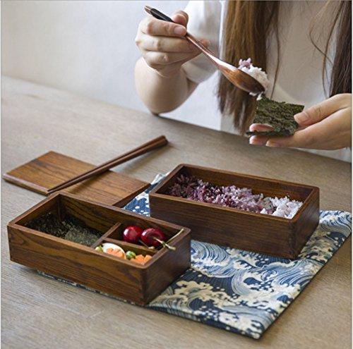 Ecloud Shop® Umweltholz Lunch Box japanischen Stil aus Holz Sushi Bento Box