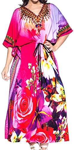 LA LEELA Damen Überdimensional Maxi Kimono Kaftan Tunika Kaftan Damen Top Freie Größe StrandKleider In 11 verschiedenen Farben Fuchsia Rosa