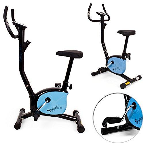 Heimtrainer Fitnessbike Fitnessrad Fahrrad Hometrainer Fitnessgerät Sensoren (Schwarz - Blau)
