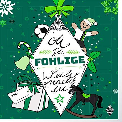Premium Schoko-Adventskalender – Der lustige Weihnachts-Countdown aus Fairtrade-Kakao + Mannschaftsposter (200 g) (Borussia Mönchengladbach)