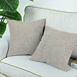 Bequemer Überwurf-Kissenbezug für Couch Sofa, Bett, bequem, superweicher Cord, gestreift, beidseitig 45,7 x 45,7 cm, cremefarben, Free Size