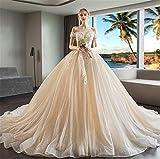 Hochzeitskleid,Brautkleid Extralange Schlanke Schulter V-Ausschnitt Braut 3D Drapieren Prinzessin Langen Abschnitt Schleppend Schlanke Sexy Frau Heiraten Abend