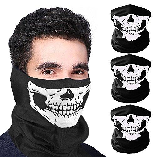 , Schädel Bandana für Halloween, Weihnachten, Biking Rave Maske Paintball, zwei verschiedene Arten von Stil (3 Stücke) (Schädel Und Maske)