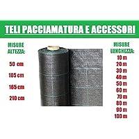 ITALFROM Teli Telo per Pacciamatura Nero Quadrettato Tessuto Polipropilene Antistrappo - mt 50 x 2,10 h